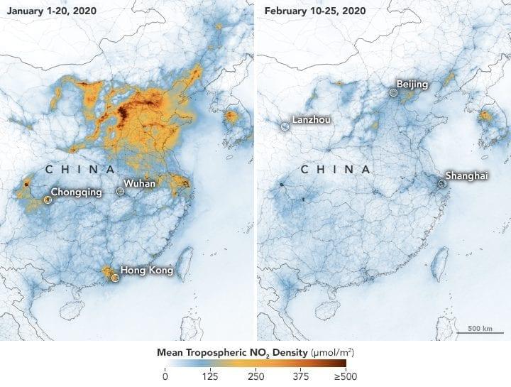 Los niveles de polución por óxidos de nitrógeno en China entre el mes de enero y febrero. | NASA